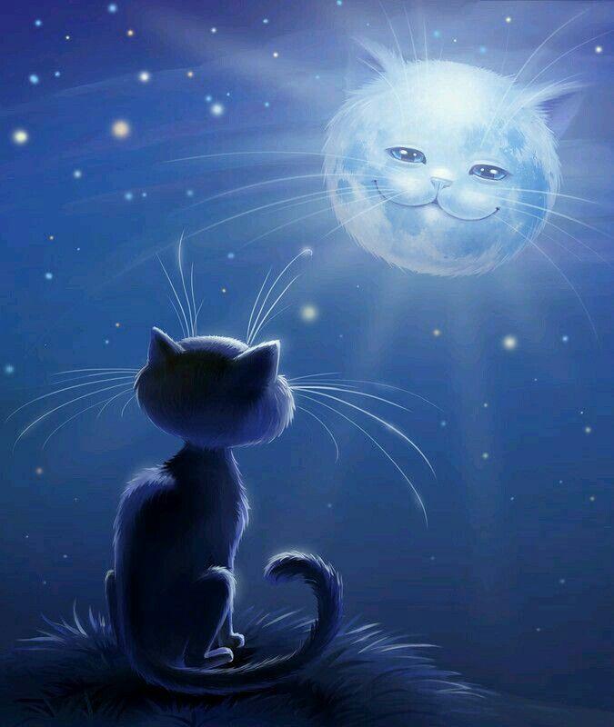 Рисунка на котка, която гледа към луната, която е с лице на котка